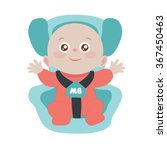 the child sits in a car seat | Shutterstock .eps vector #367450463