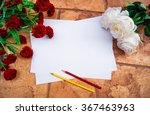 white paper on a stone wall... | Shutterstock . vector #367463963