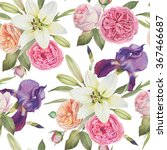 floral seamless pattern with... | Shutterstock . vector #367466687
