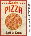 pizza vintage retro poster on... | Shutterstock . vector #367479287