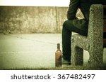 man depressed with wine bottle... | Shutterstock . vector #367482497