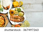 grilled salmon fish steak... | Shutterstock . vector #367497263