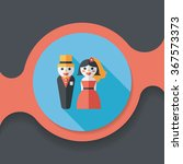 wedding couple flat icon with... | Shutterstock .eps vector #367573373