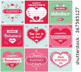 happy valentines day cards. set ... | Shutterstock .eps vector #367585127