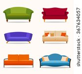 a set of six couches in the...