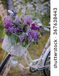 vintage bicycle with flowers on ... | Shutterstock . vector #367638443