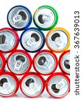 Small photo of Aluminum cans isolated on white background