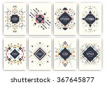 Set of geometric abstract colorful flyers - ethnic style brochure templates - collection of design elements - modern background templates | Shutterstock vector #367645877