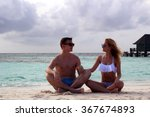 he and she on the beach   Shutterstock . vector #367674893