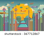 futuristic city in color.... | Shutterstock .eps vector #367712867