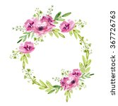 floral wreath with pink flowers | Shutterstock . vector #367726763