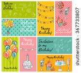 vector set . happy birthday... | Shutterstock .eps vector #367733807