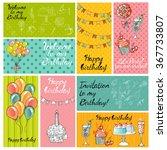 vector set . happy birthday... | Shutterstock .eps vector #367733807