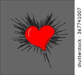 red sketch heart on a gray... | Shutterstock .eps vector #367741007