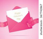 valentine card. pink envelope... | Shutterstock .eps vector #367742867