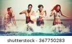 friends vacation beach carefree ... | Shutterstock . vector #367750283