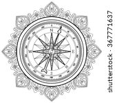 graphic wind rose compass drawn ... | Shutterstock .eps vector #367771637