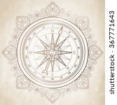 graphic wind rose compass drawn ... | Shutterstock .eps vector #367771643