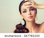 fashion woman with jewelry set .... | Shutterstock . vector #367782233