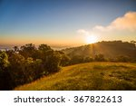 Stock photo summer landscape sunrise in the mountains hdr image doi mon jong thailand 367822613