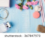 Cute Feminine Objects On Blue...