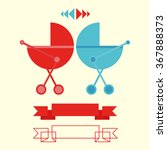 baby carriages red and blue... | Shutterstock .eps vector #367888373