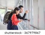 couples of younger traveling... | Shutterstock . vector #367979867