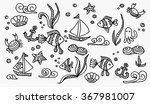 abstract pattern sea life and... | Shutterstock .eps vector #367981007