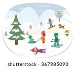 playing in the snow   cute... | Shutterstock .eps vector #367985093