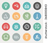 travel flat contour icons on... | Shutterstock .eps vector #368000843