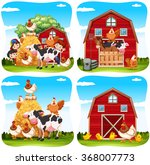children and farm animals on... | Shutterstock .eps vector #368007773