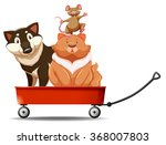 Dog And Cat On Red Wagon...