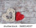 Two Wicker Valentine Day Heart...