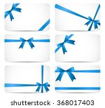 gift card with blue ribbon and... | Shutterstock .eps vector #368017403