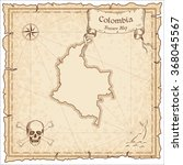 old pirate map of colombia.... | Shutterstock .eps vector #368045567