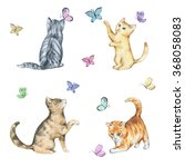 Stock photo set of watercolor cute little kittens in playing with butterflies hand drawn animals illustrations 368058083