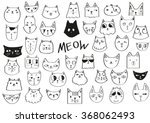 Meow Poster. Hand Drawn Cats I...