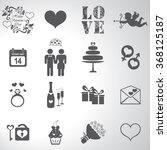 valentine day love icons set... | Shutterstock .eps vector #368125187
