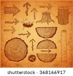 sketches of wood cuts  logs ... | Shutterstock .eps vector #368166917