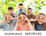 happy children making faces and ... | Shutterstock . vector #368189183