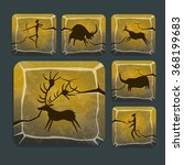stone icons with prehistoric... | Shutterstock .eps vector #368199683