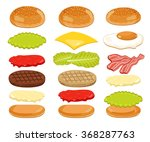 burger ingredients and burger...   Shutterstock .eps vector #368287763