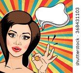 retro pop art young woman...   Shutterstock . vector #368431103