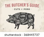 cut of meat set. poster butcher ... | Shutterstock .eps vector #368445737