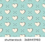Seamless pattern with heart and arrows in vintage style engraving on a turquoise background for Valentine's Day. Hand drawn. Vector Illustration