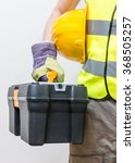 worker holds toolbox.... | Shutterstock . vector #368505257