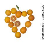 Small photo of oranges, heart, leaf, sanguine type