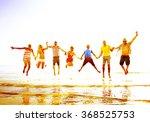 diverse beach summer friends...   Shutterstock . vector #368525753