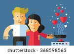 couple in love cooking a dinner ... | Shutterstock .eps vector #368598563