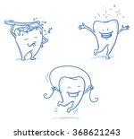 cute happy cartoon tooth being... | Shutterstock .eps vector #368621243